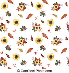 Hand painted watercolor seamless pattern with sunflowers, autumn leaves and berries on white background