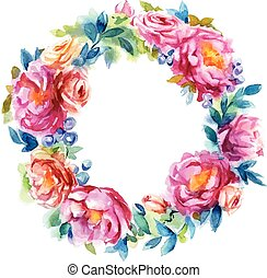 hand painted watercolor wreath. Flower decoration. Floral design.