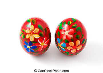 Hand painted wooden Easter eggs, with clipping path