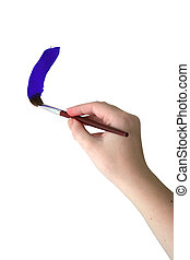Hand Painting - An artist\'s hand painting a stripe of blue...