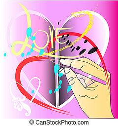 hand painting brush stroke style design heart love