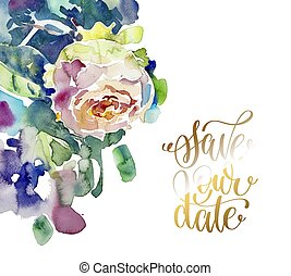 hand painting watercolor rose greeting card to wedding invitatio