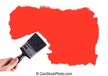 Hand Painting White Wall with Orange