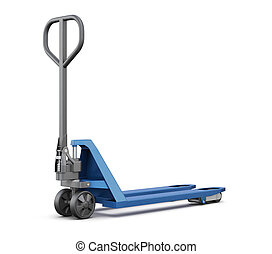 Hand pallet truck isolated on white background. 3d  illustration