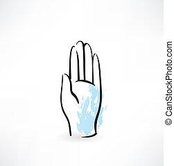 hand palm grunge icon