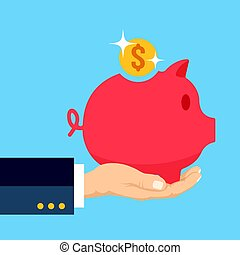 Hand palm holding piggy bank with shiny gold coin. Money box, savings, investment concepts. Modern flat design vector illustration