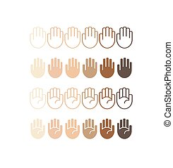 Hand palm icons in different skin tones