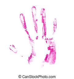 Hand palm oil paint print