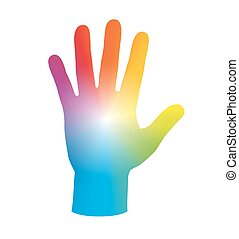Hand Palm Rainbow Colors