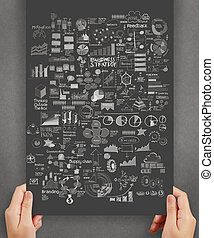 hand paper with business strategy paper background as concept