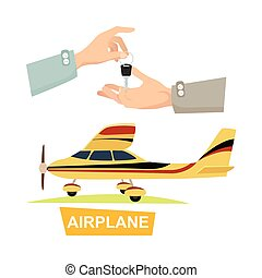 Hand Passing Key. Process of Buying Airplane.