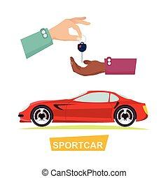 Hand Passing Key. Process of Buying Sportbike - Sportcar...