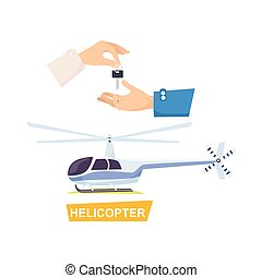 Hand Passing Key. Process of Buying Helicopter