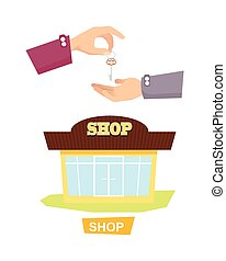 Hand Passing Key. Process of Buying, Renting Shop