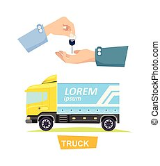 Hand Passing Key. Process of Buying, Renting Truck