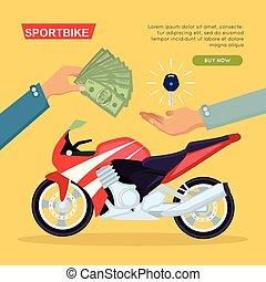 Hand Passing Key. Process of Buying Motorbike - Illustration...