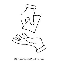 Hand passing money icon, outline style