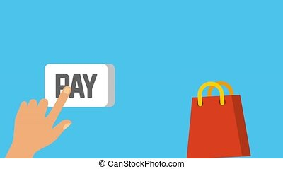hand pay shopping online animation - hand pay bags falling...