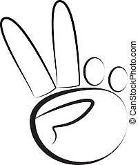 hand-peace, jelkép, jel, vektor