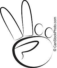 hand-peace, símbolo, logotipo, vector