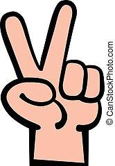 Hand peace sign cartoon