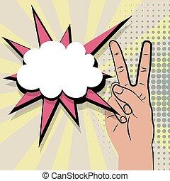 Hand peace sign comic retro pop art