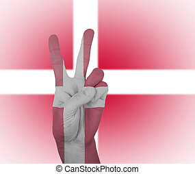 Hand peace sign with flag of Denmark