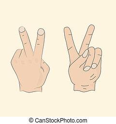Hand peace, silhouette