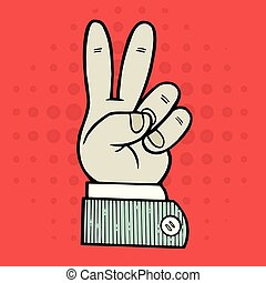 hand peace symbol sign