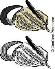 hand, pen, schrijvende , fontijn