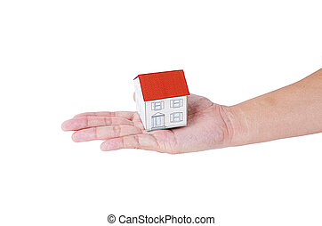 Hand people holding paper house model Isolated on white backgrounds