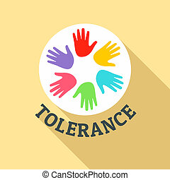 Hand people tolerance logo, flat style