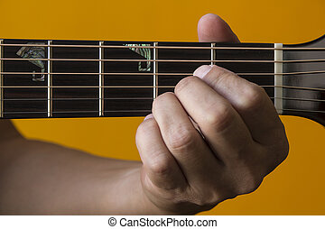 A chord on guitar - Hand performing A chord on guitar