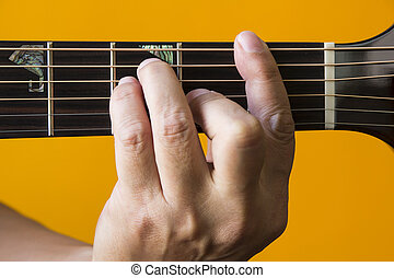 F chord on guitar - Hand performing F chord on guitar