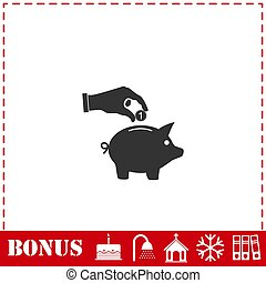 Hand pick down coin into pig money box icon flat