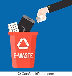 hand pick e-waste and colorful recycle bin flat design ...
