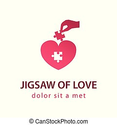 hand pick jigsaw up to fulfill lost piece in heart,concept logo,