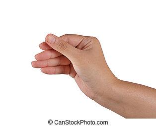 hand picking on white background
