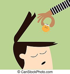 hand picking up a light bulb from human head, analogy of stealing ideas1