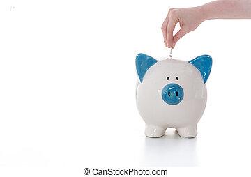 hand, plaatsing, munt, in, blauw en wit, piggy bank