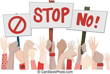 Hand Placards Stop Rally - Illustration of Demonstrators...