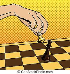 Hand playing chess pop art vector illustration