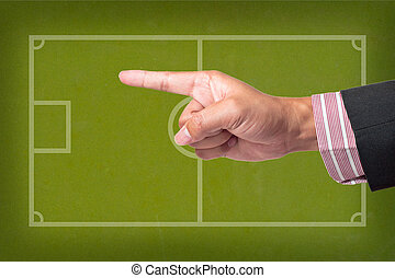 Hand Point a soccer game strategy on a blackboard