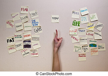 A hand pointing at a sticky note titled as You with both negative and positive sticky notes on its left and right side.