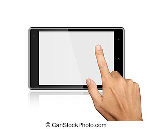 hand point on Tablet PC Isolated on white background