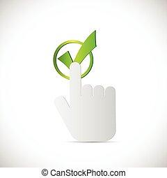 Hand Point to Checkmark Illustration