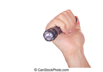 Hand pointed with flashlight