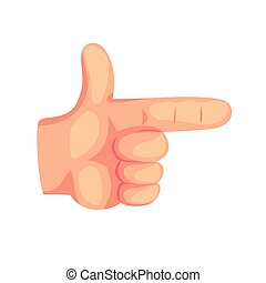 Hand pointer, hand gesture with the shape of the gun cartoon vector Illustration