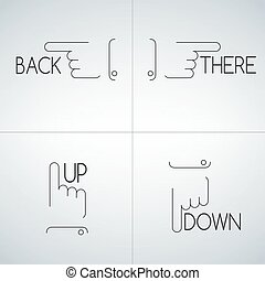 Hand pointer line icon set, collection