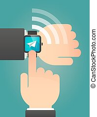 Hand pointing a smart watch with a paper plane